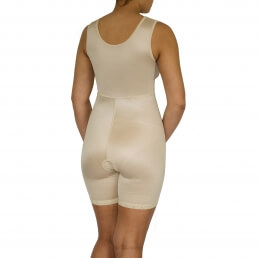 Female, Overall, mid thigh leg, Shoulder, Normal support, Hook + eye, Open crotch - back